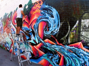 time-graffiti-artist-ladder