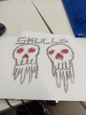 Skulls and red eyes
